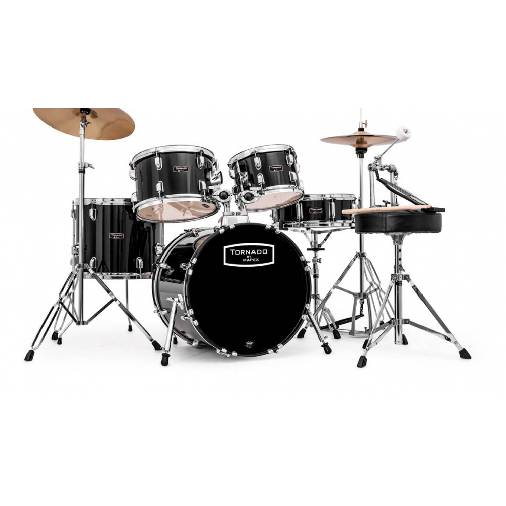 Mapex, Drum Set, Tornado, 5Pcs w /Hw, Throne & Cymbals-Black