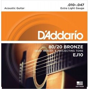 D'Addario EJ10 Acoustic Guitar Strings- Bronze 0.10/0.47