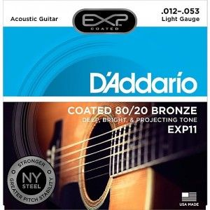 D'Addario EXP11 Light Acoustic Guitar String Set 80/20 Bronze .012-.053
