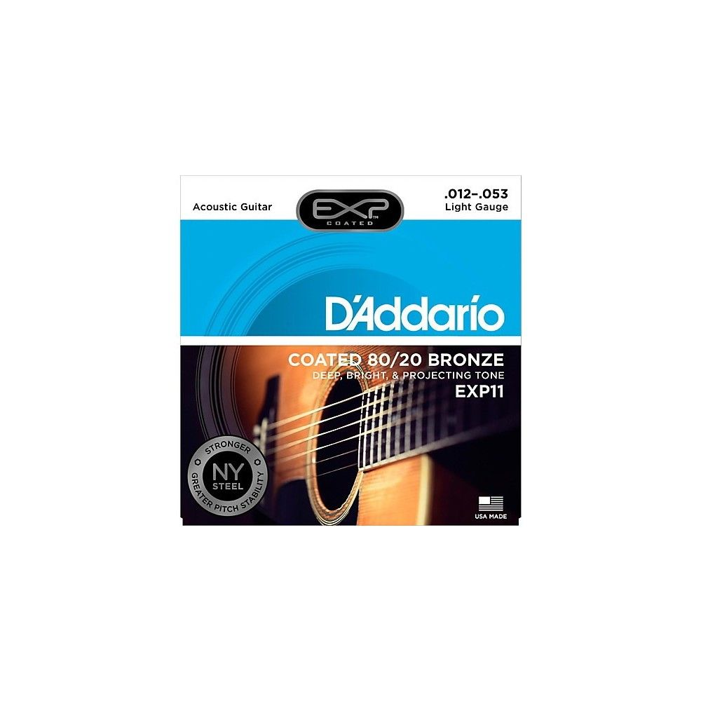 D'Addario EXP11 Light Acoustic Guitar String Set 80/20 Bronze .012-.053