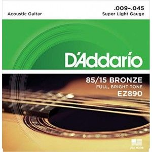 D'Addari EZ890 Super Light Acoustic Guitar String Set 85/15 Bronze .009-.045