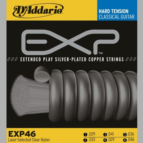 D'Addario EXP46, Classical Guitar String Set, Hard Tension, Clear
