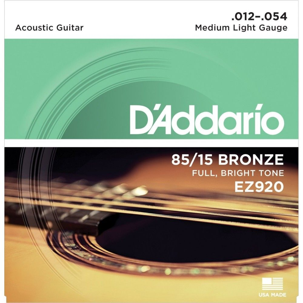 D'Addario, Acoustic Guitar Strings, 85/15 Bronze .012-.054 - Medium, light-Set EZ920
