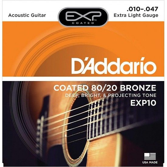 D'Addario, Acoustic Guitar Strings, 80/20 Bronze .010-.047 - Set EXP10 Extra Light