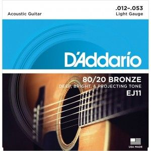D'Addario EJ11 Acoustic Guitar String Set 80/20 Bronze Lite .012-.053