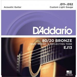 D'Addario EJ13 Acoustic Guitar String Set 80/20 Bronze Custom Lite .011-.052