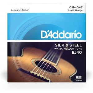 D'Addario EJ40 Acoustic Guitar String Folk Silk & Steel .011-.047