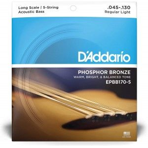 D'Addario EPBB170-5 Phosphor Bronze 5-String Acoustic Bass Strings .045-.130